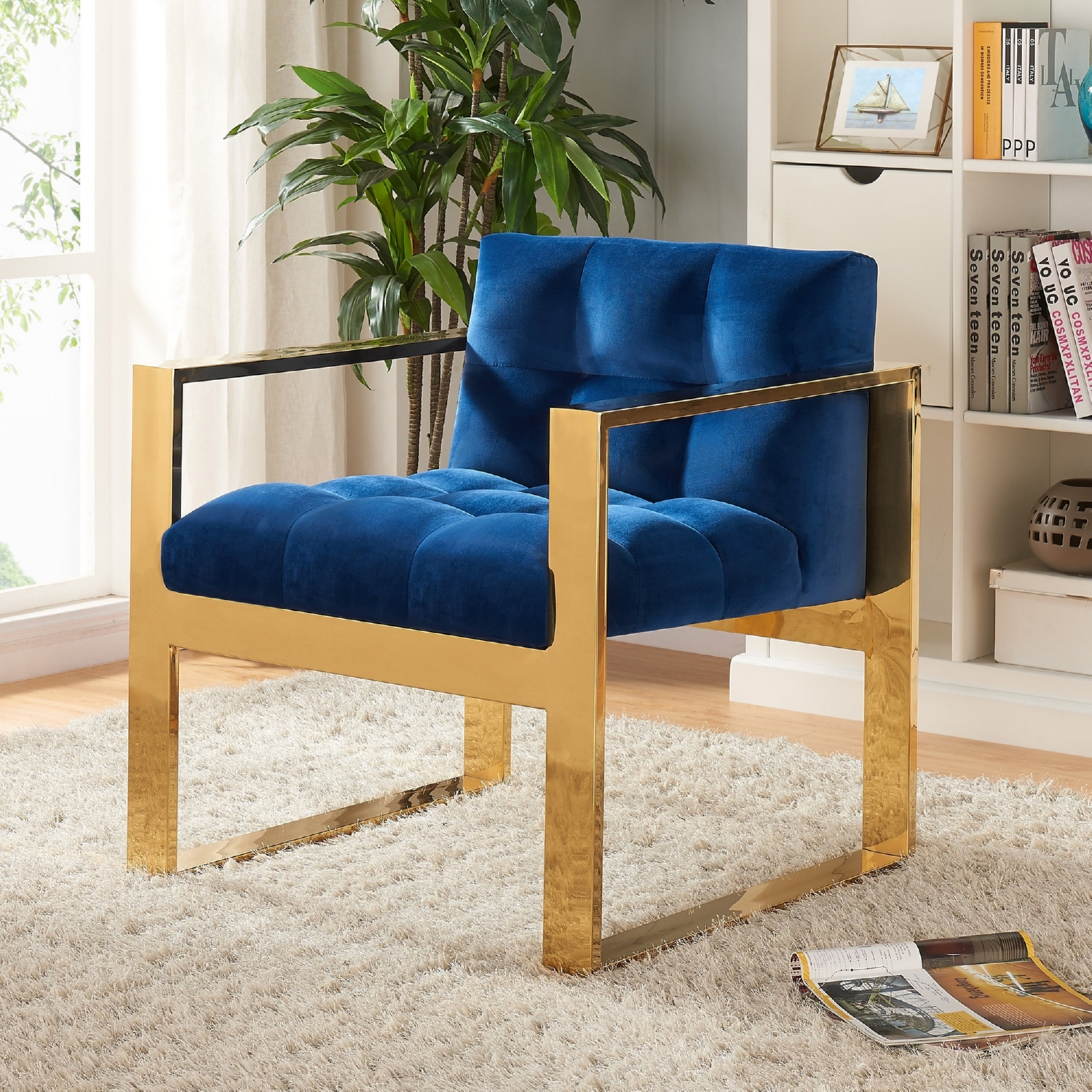 Meridian Furniture 514Navy Mia Navy Tufted Velvet Accent Chair on