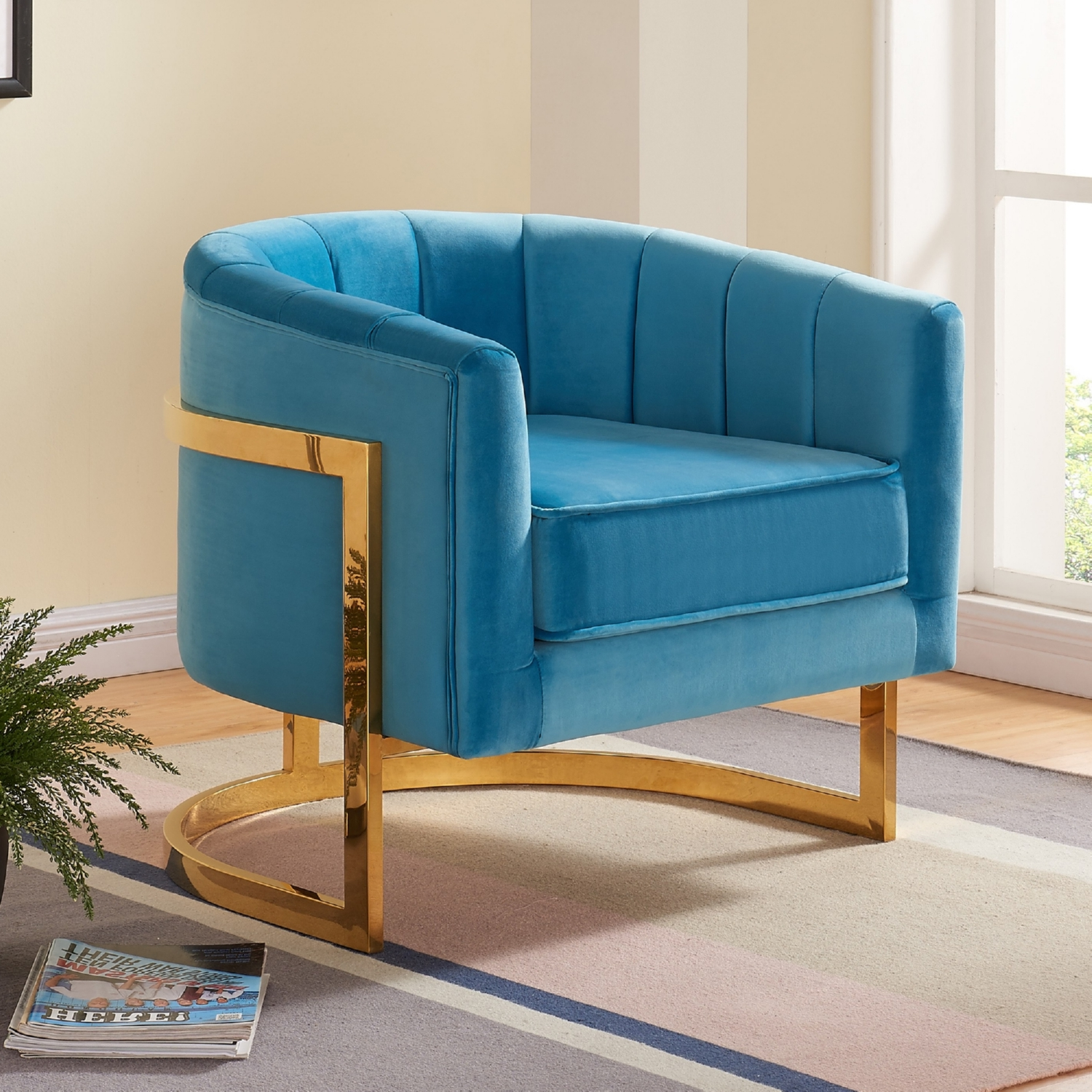 carter aqua velvet accent chair on gold stainless base w round back
