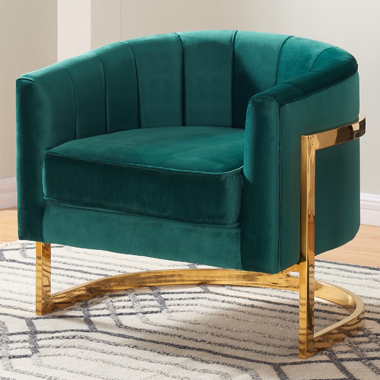 Meridian Furniture 515Green Carter Green Velvet Accent Chair On Gold  Stainless Base W/ Round Back