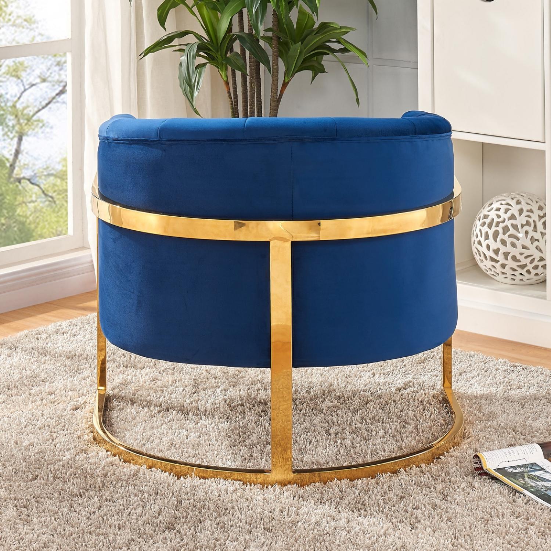Meridian Furniture 515Navy Carter Navy Velvet Accent Chair on Gold