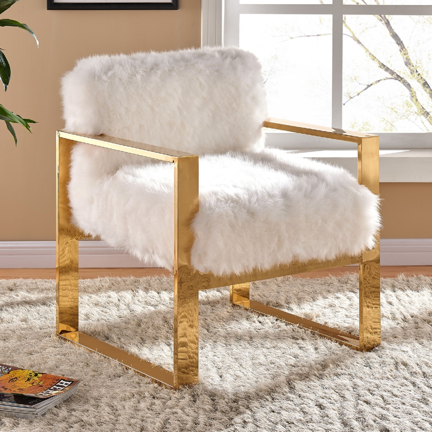 Meridian Furniture 516Fur Milo White Fur Accent Chair on Gold