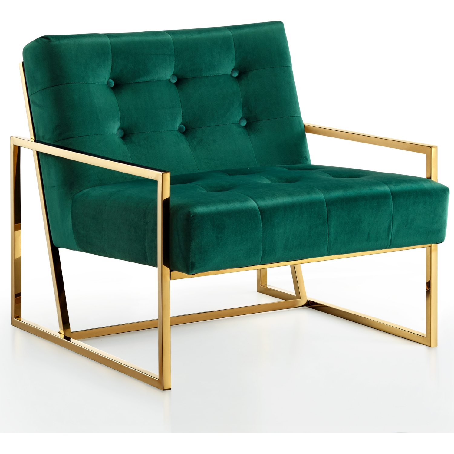 Meridian Furniture 523Green Pierre Accent Chair in Tufted Green