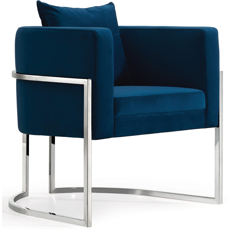 Meridian 524navy Pippa Accent Chair In Navy Blue Velvet On