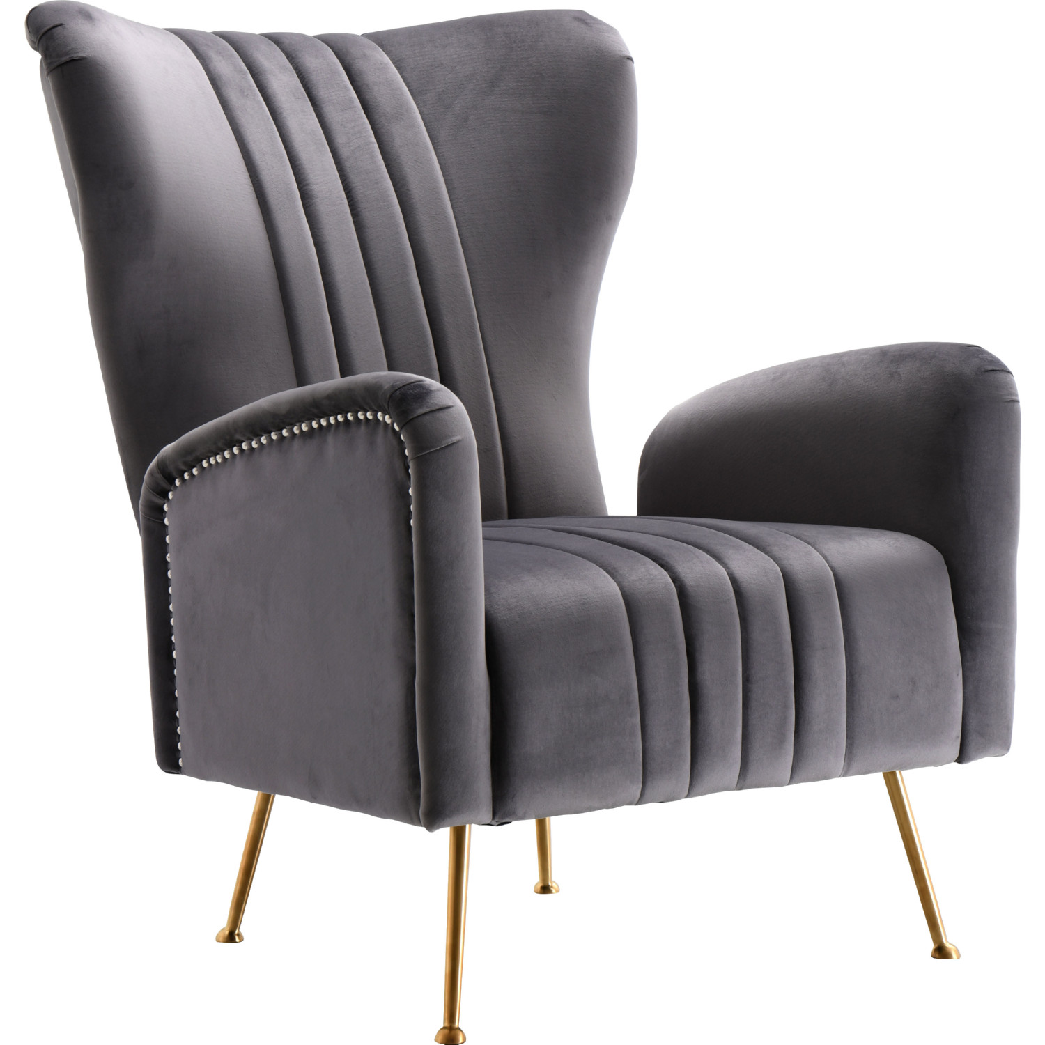 Meridian 532grey Opera Accent Chair In Grey Velvet On Gold