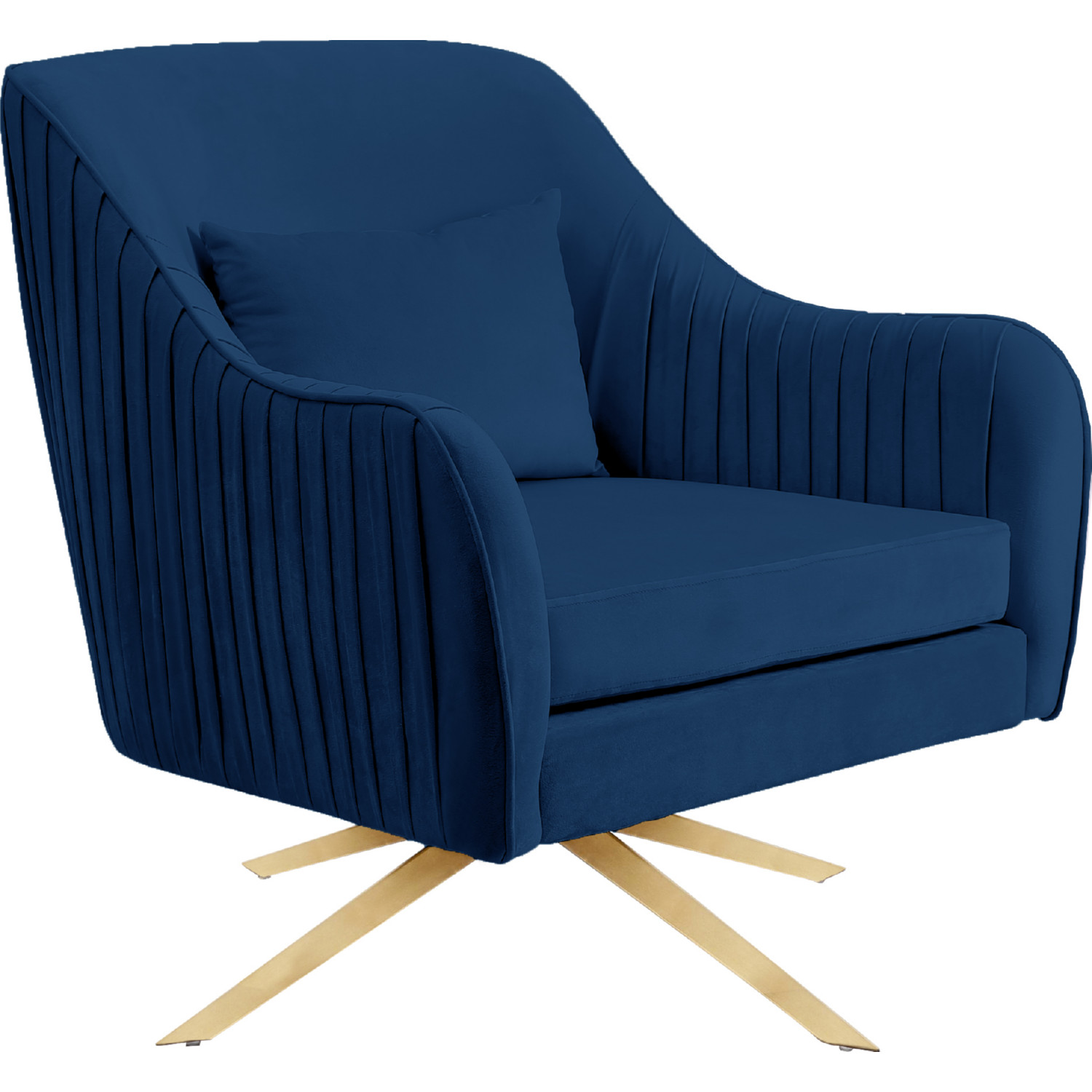 Swell Paloma Accent Chair In Navy Blue Velvet On Gold Swivel Base By Meridian Furniture Inzonedesignstudio Interior Chair Design Inzonedesignstudiocom