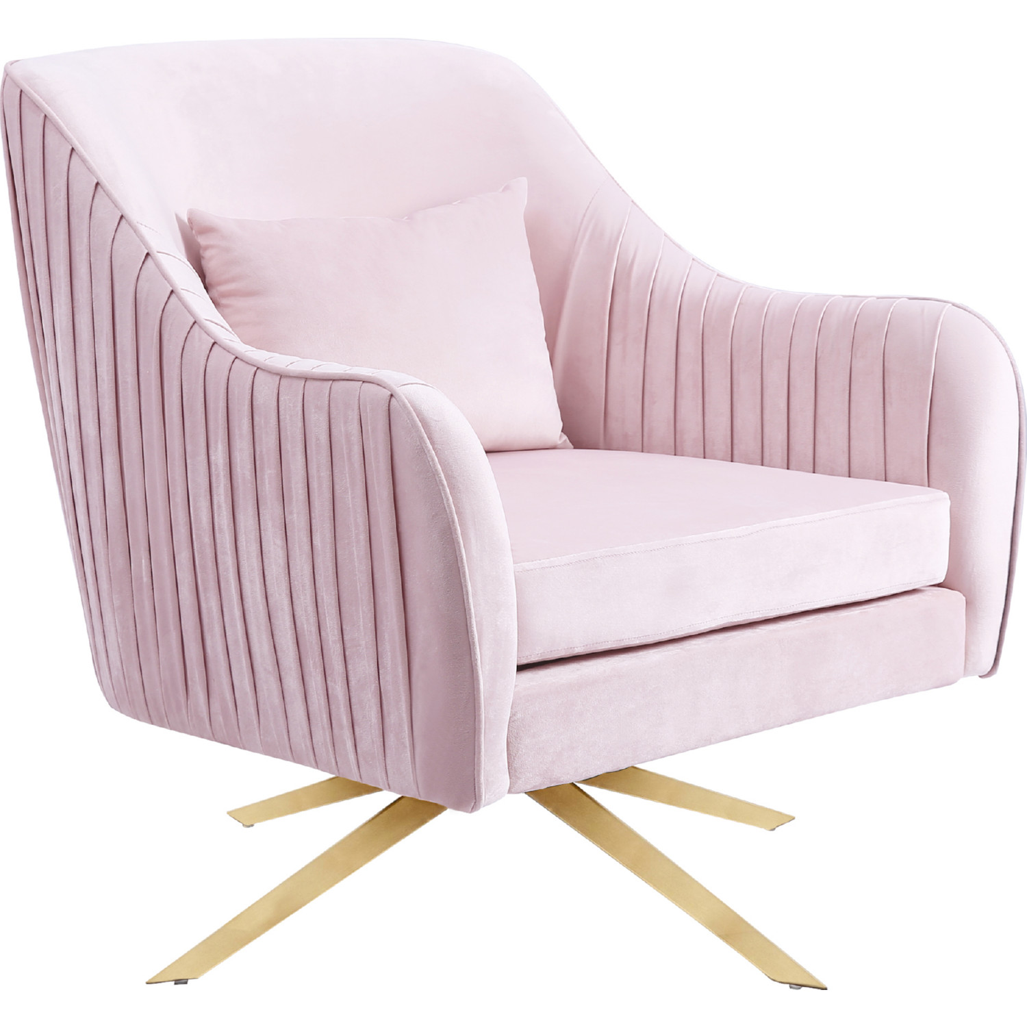 Surprising Paloma Accent Chair In Pink Velvet On Gold Swivel Base By Meridian Furniture Machost Co Dining Chair Design Ideas Machostcouk
