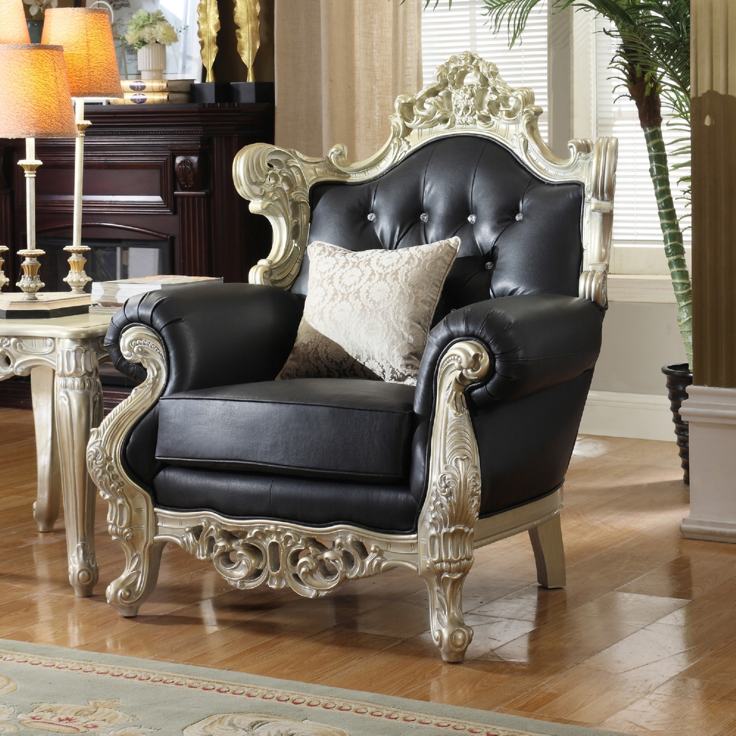 Meridian Furniture 602 C Cesar Black Crystal Tufted Leather Chair
