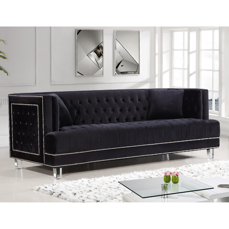 Lucas Black Tufted Velvet Sofa