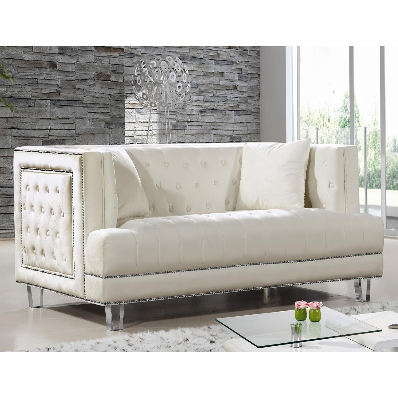 Meridian Furniture 609Cream L Lucas Cream Tufted Velvet Loveseat w