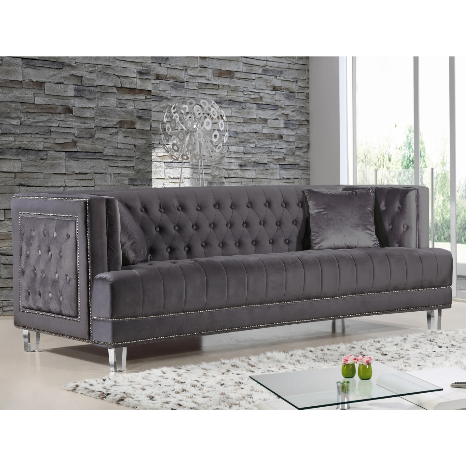 Oxford Creek Ellington Nailhead Accent Sofa In Grey 2 Traditional