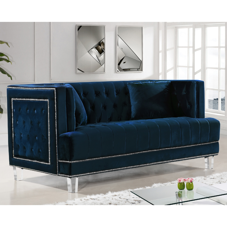 Meridian Furniture 609navy L Lucas Navy Tufted Velvet