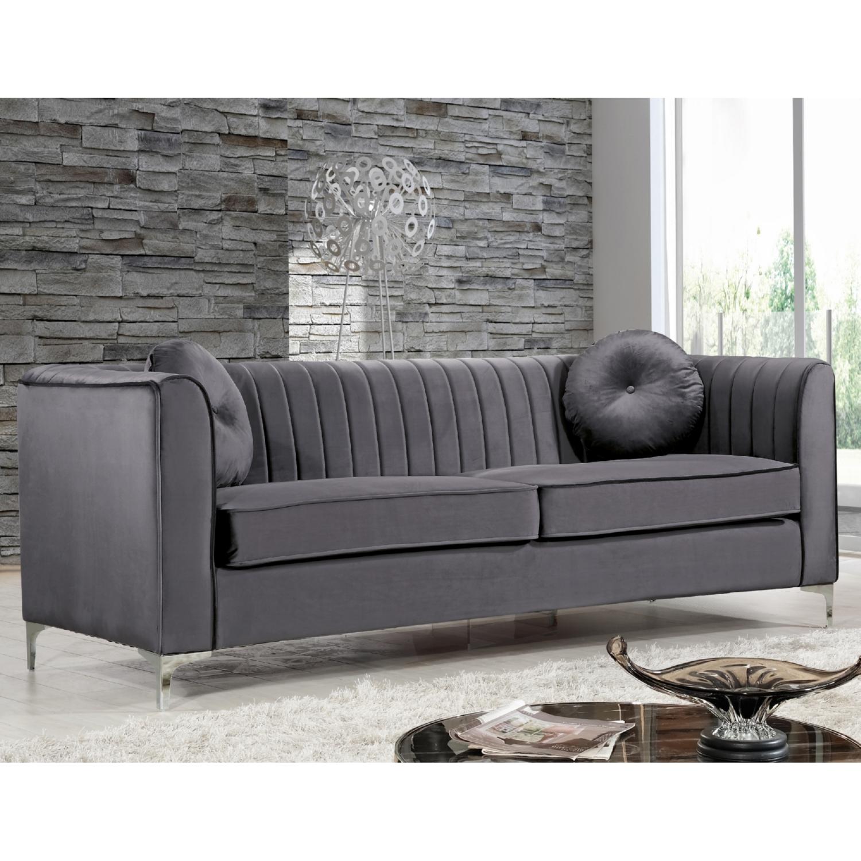 Meridian Furniture 612Grey S Isabelle Grey Velvet Sofa on Chrome Legs