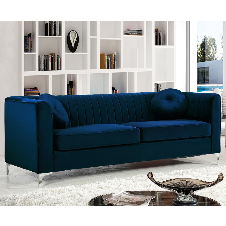Meridian 612navy S Isabelle Navy Velvet Sofa On Chrome Legs