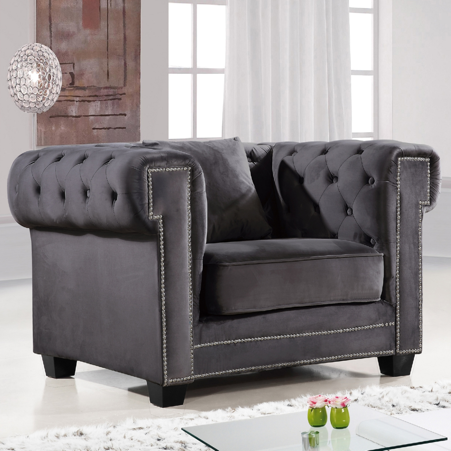 Meridian Furniture 614Grey C Bowery Grey Tufted Velvet Arm Chair w
