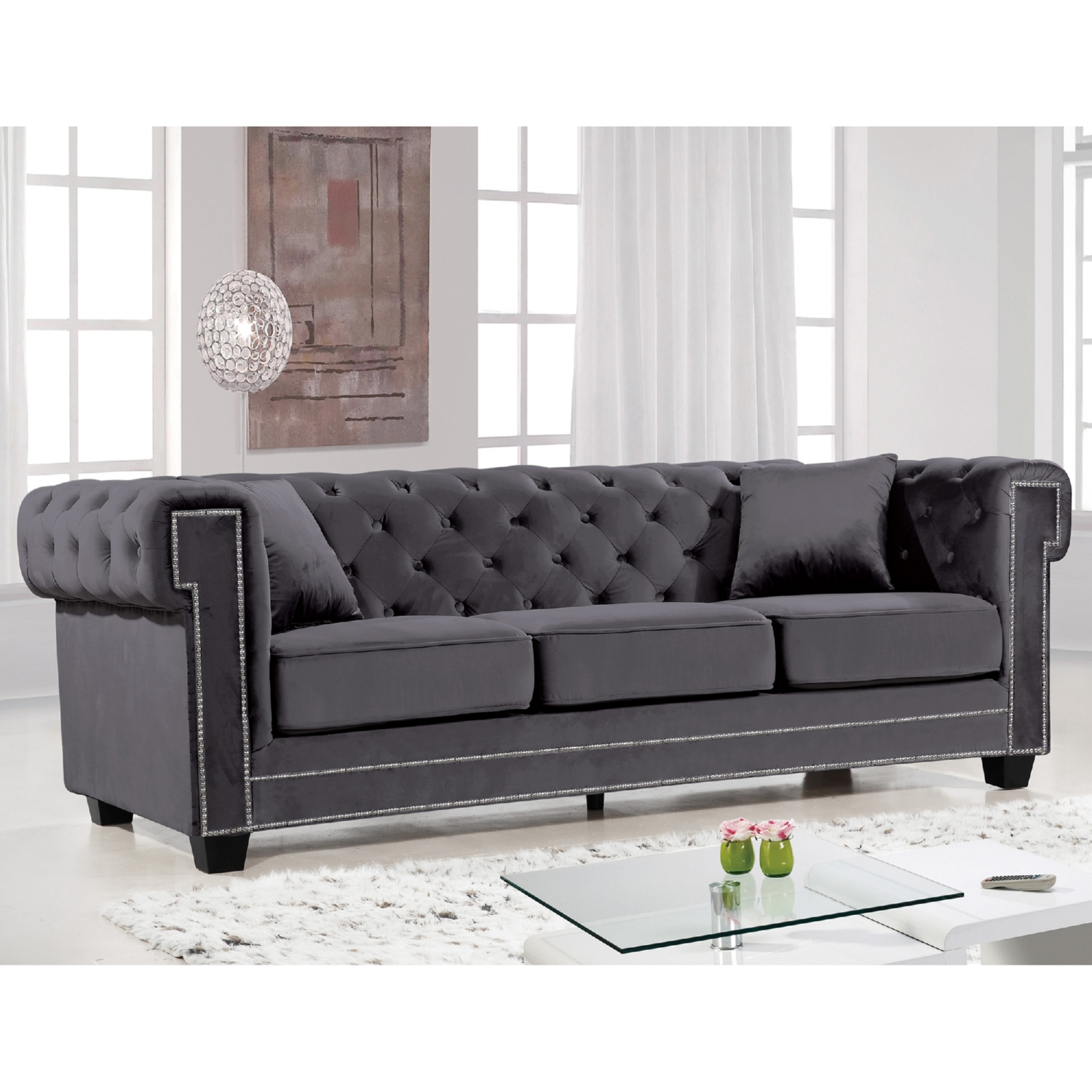 Meridian Furniture 614Grey S Bowery Grey Tufted Velvet Sofa w
