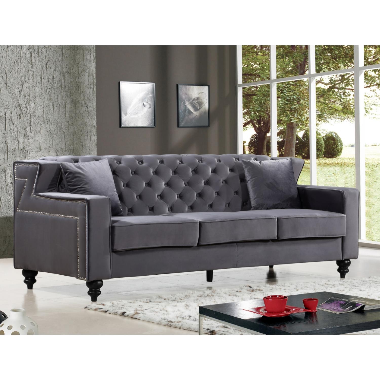 Meridian Furniture 616Grey S Harley Grey Tufted Velvet Sofa W/ Nailhead Trim
