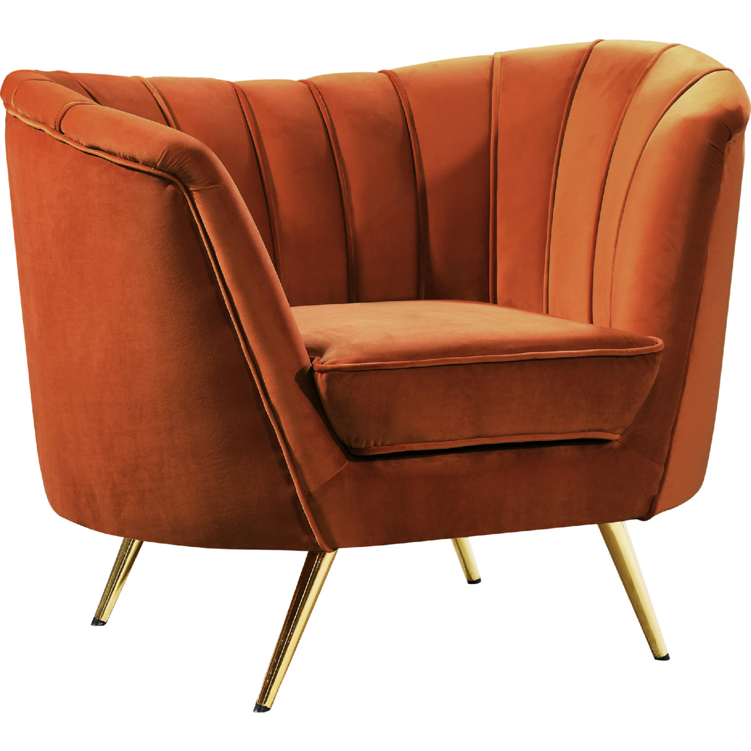 Tremendous Margo Accent Chair In Cognac Velvet On Gold Stainless Legs By Meridian Furniture Caraccident5 Cool Chair Designs And Ideas Caraccident5Info