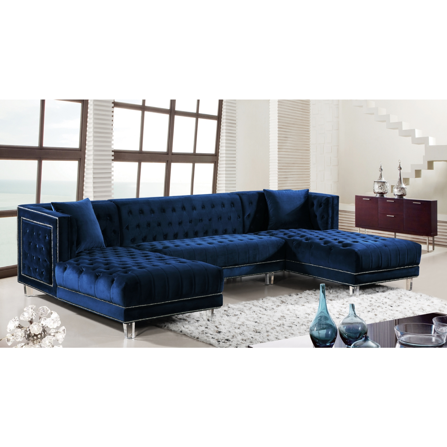 Meridian Furniture 631Navy Sectional Moda 3 Piece Dual Chaise