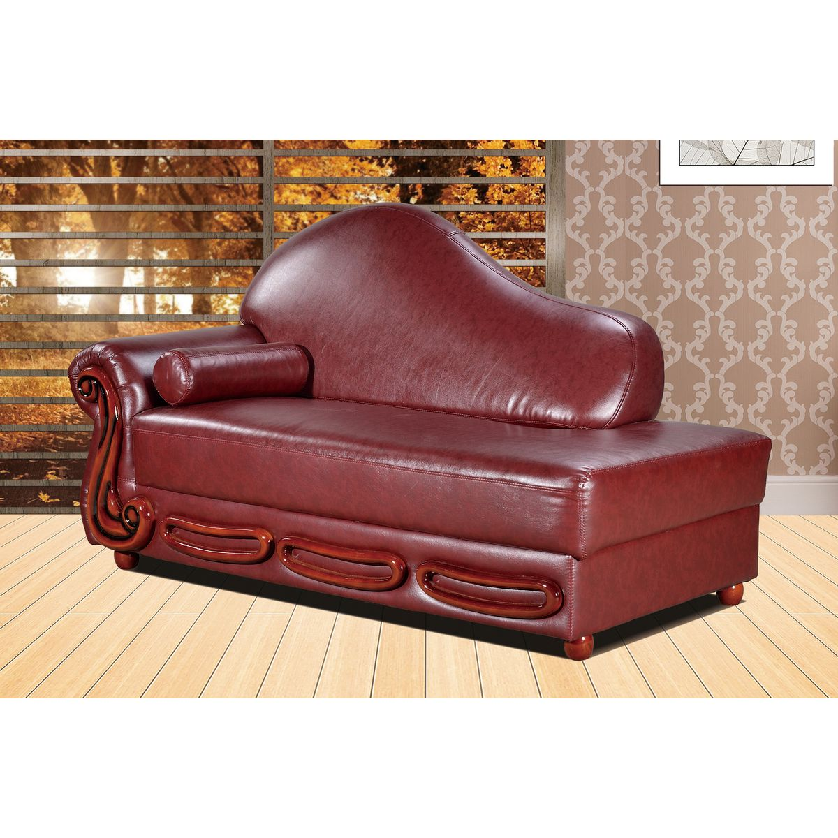 Meridian furniture 632burg ch bella burgundy leather for Burgundy leather chaise