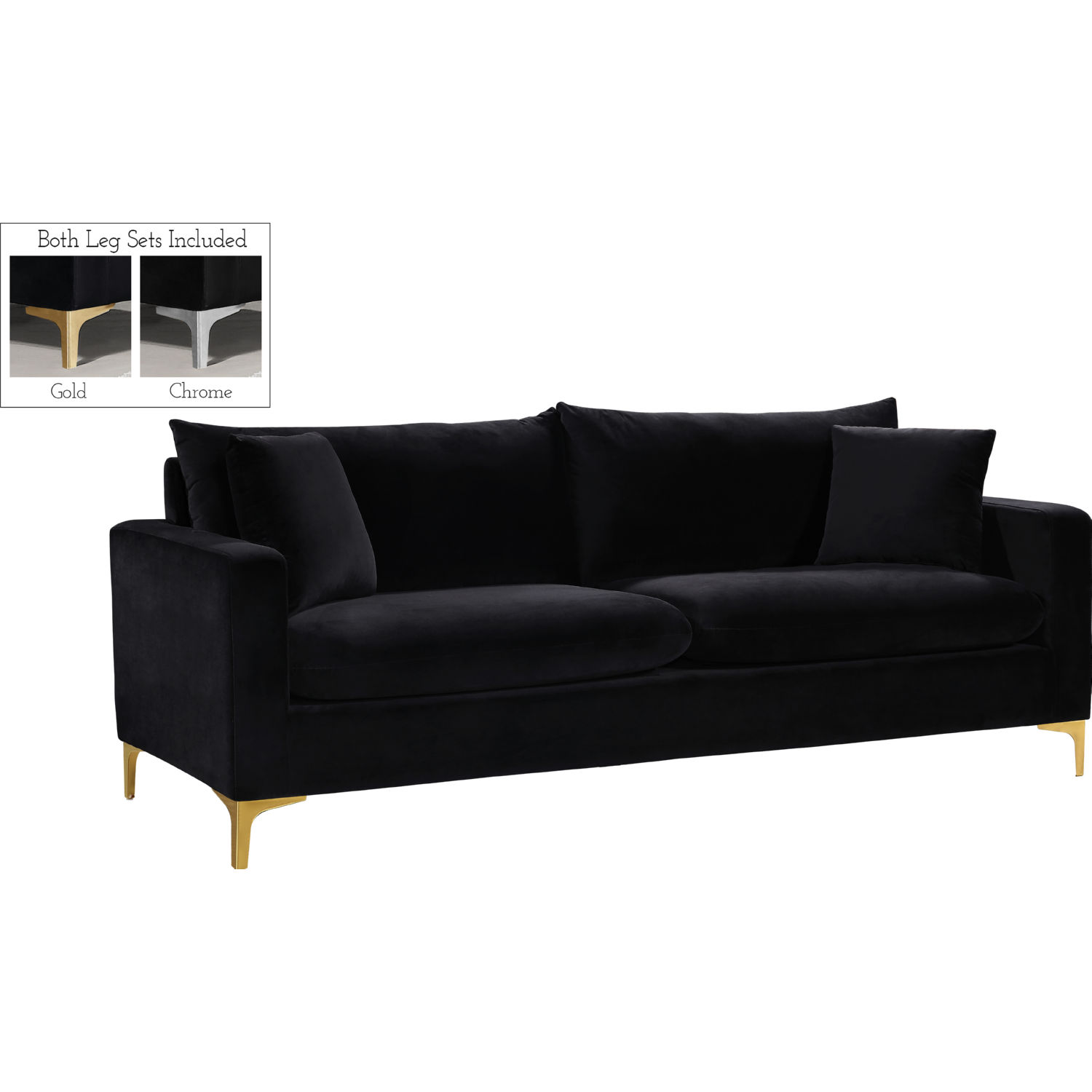 Meridian 633Black-S Naomi Sofa in Black Velvet w/ Gold or Chrome Legs