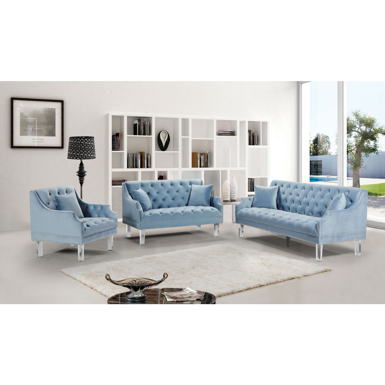 Roxy Accent Chair In Tufted Sky Blue Velvet On Acrylic Legs By Meridian Furniture