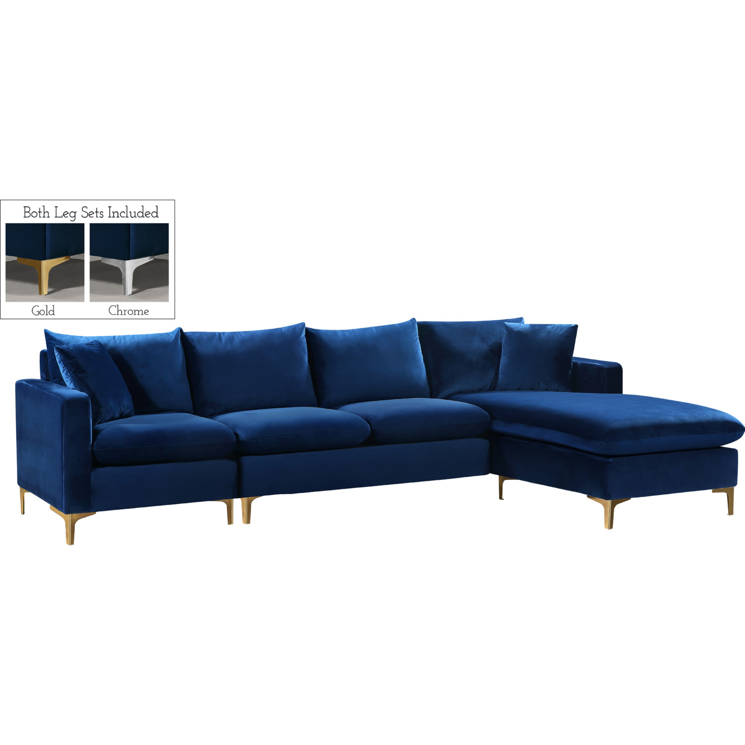 Miraculous Naomi Sectional Sofa W Reversible Chaise In Navy Velvet By Meridian Furniture Andrewgaddart Wooden Chair Designs For Living Room Andrewgaddartcom