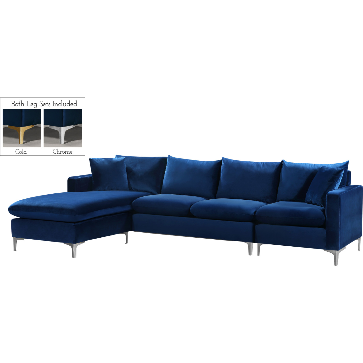 Meridian 636Navy-Sectional Naomi Sectional Sofa w/ Reversible Chaise ...