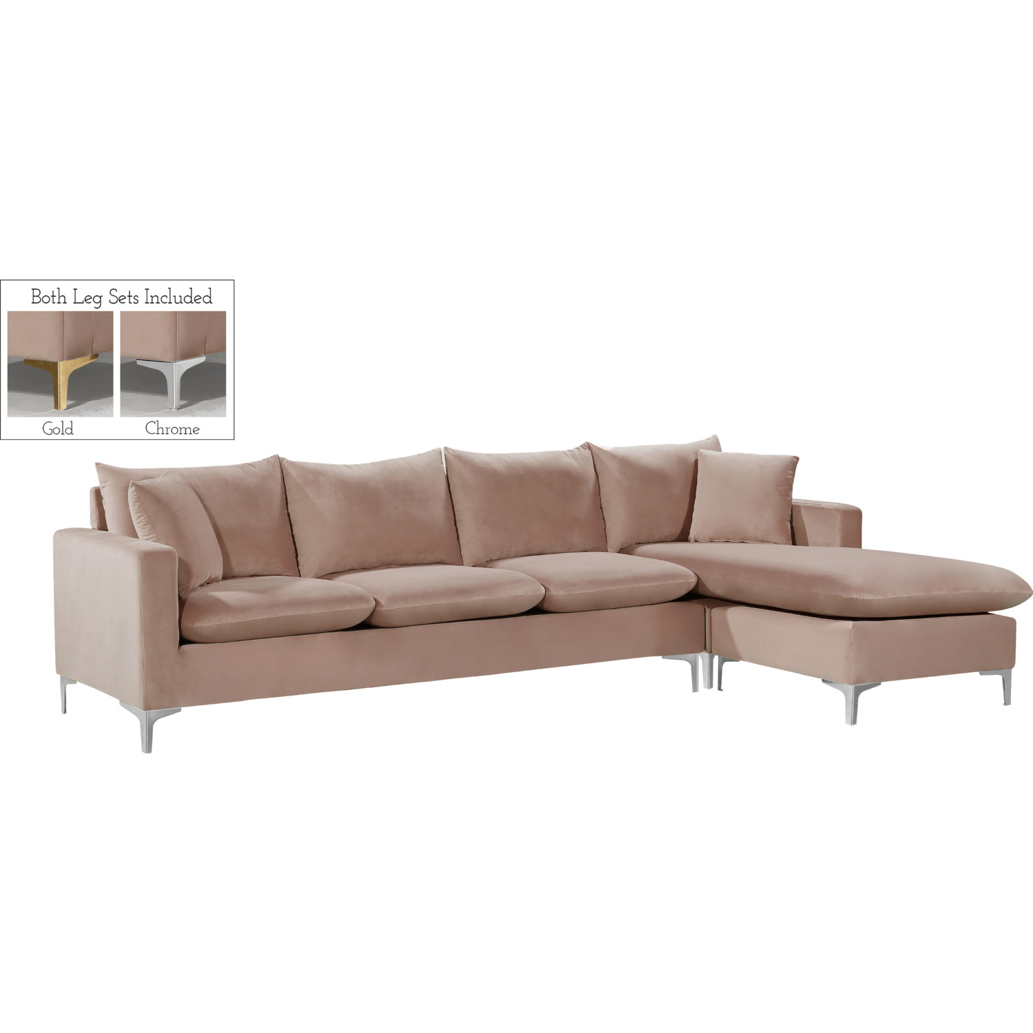 Strange Naomi Sectional Sofa W Reversible Chaise In Pink Velvet By Meridian Furniture Gamerscity Chair Design For Home Gamerscityorg