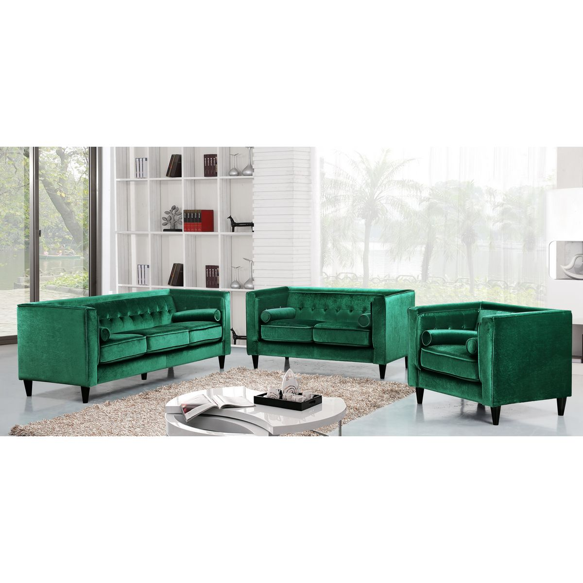 Etonnant Meridian Furniture Taylor Green Velvet Sofa W/ Tufted Back U0026 Bolster Pillows