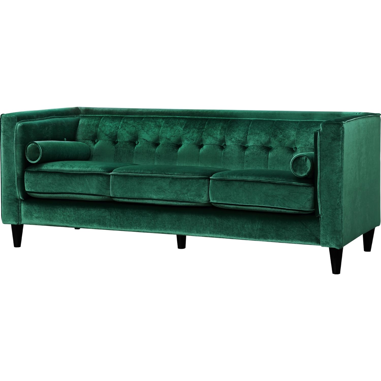 Meridian Furniture 642Green S Taylor Green Velvet Sofa w Tufted