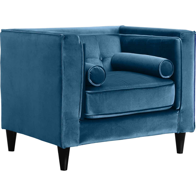 Meridian 642LtBlu C Taylor Light Blue Velvet Arm Chair W/ Tufted Back U0026  Bolster Pillows