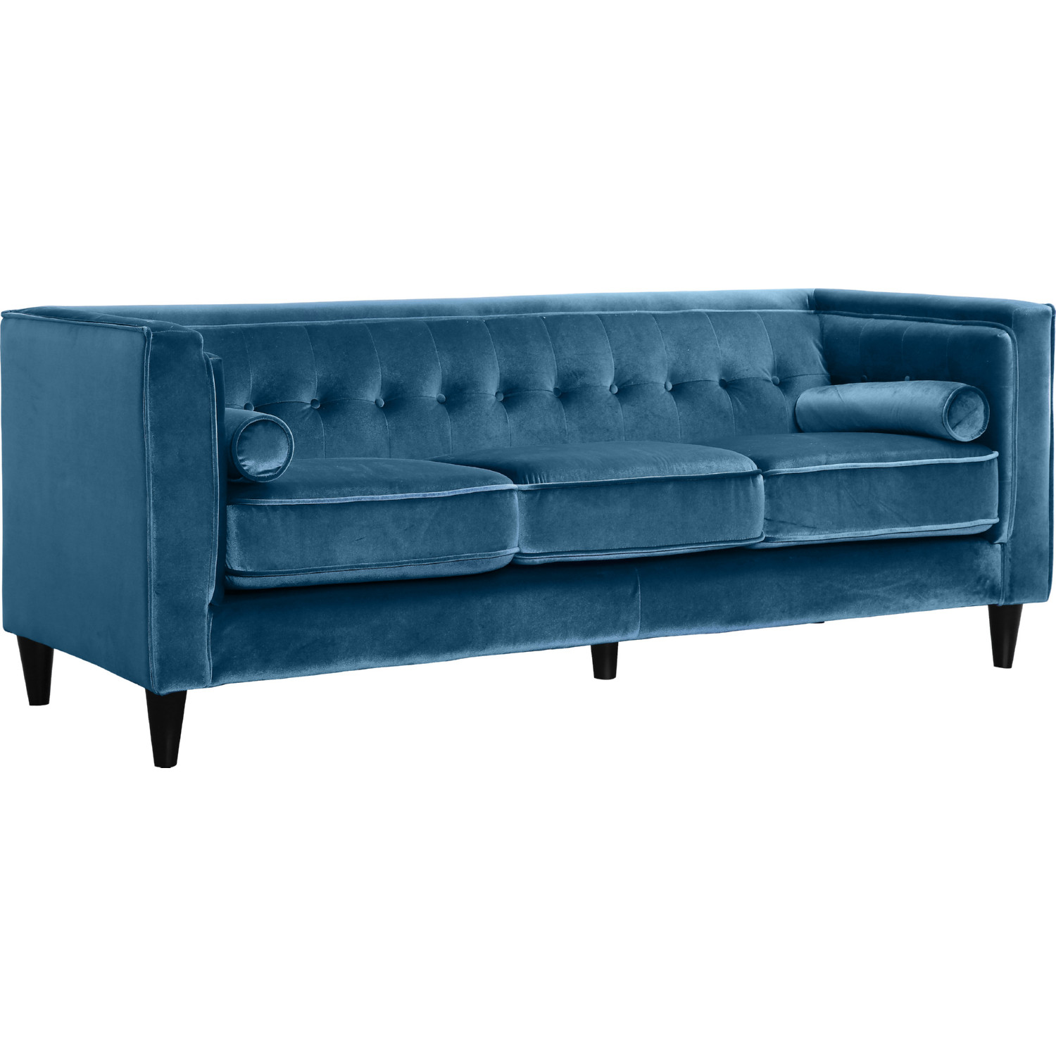 Surprising Taylor Light Blue Velvet Sofa W Tufted Back Bolster Pillows By Meridian Furniture Ocoug Best Dining Table And Chair Ideas Images Ocougorg