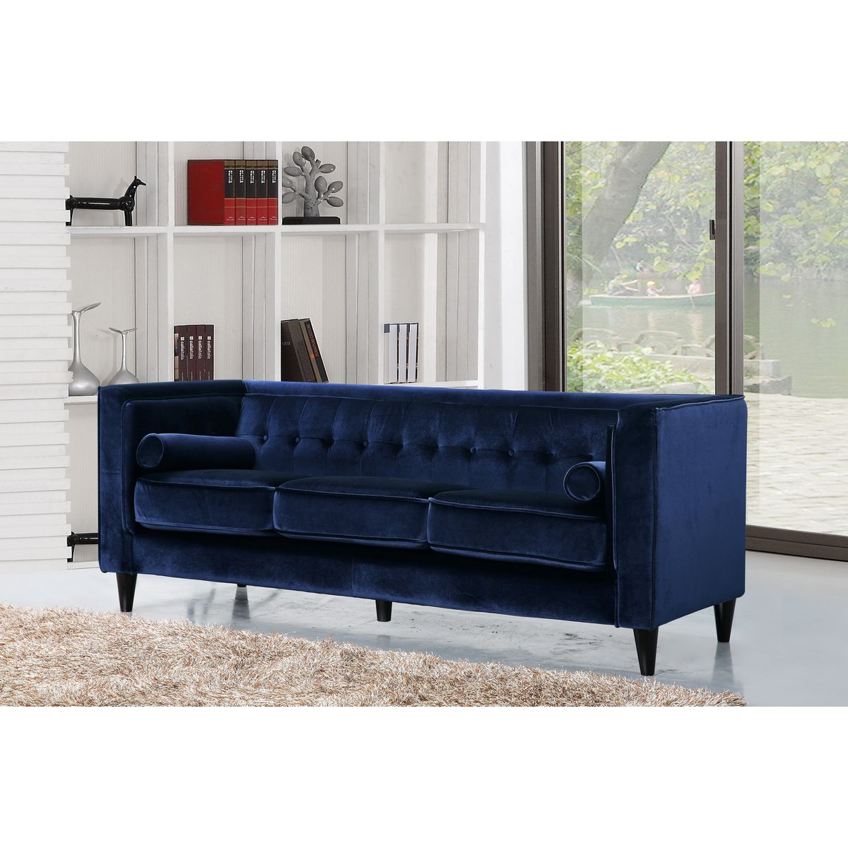 Phenomenal Taylor Navy Velvet Sofa W Tufted Back Bolster Pillows By Meridian Furniture Ocoug Best Dining Table And Chair Ideas Images Ocougorg