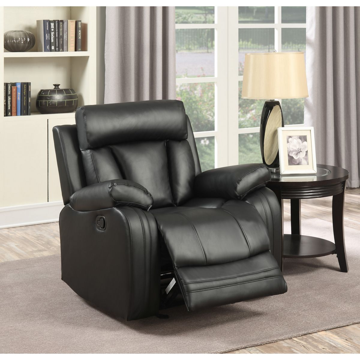 Meridian Furniture 645bl C Avery Black Leather Glider Recliner