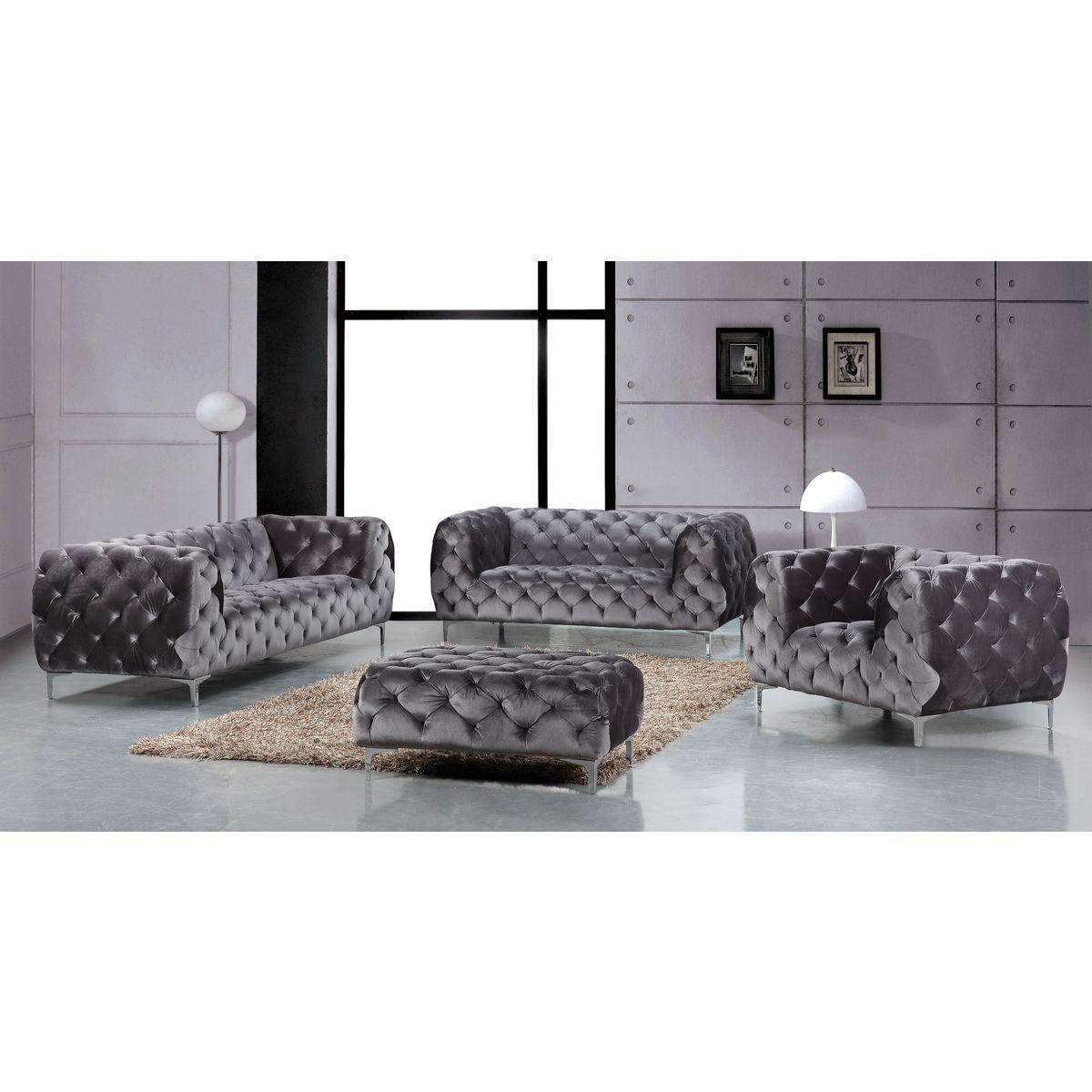 Meridian Furniture 646GRY L Mercer Grey Velvet w All Over Tufting