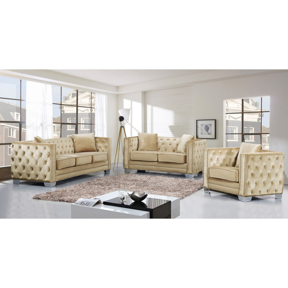 Reese Beige Velvet Sofa W Tufted Back Arms On Metal Legs By Meridian Furniture