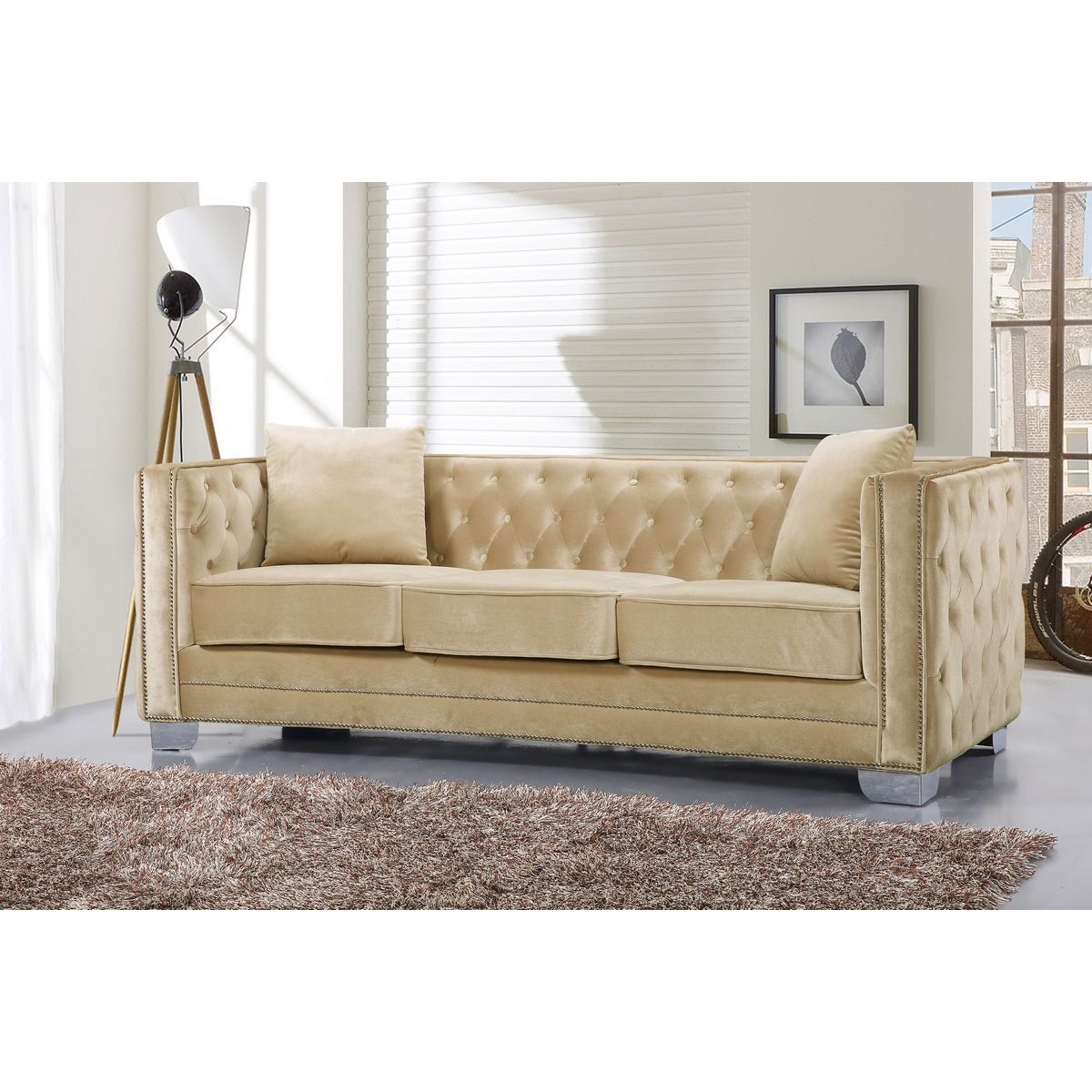 Meridian Furniture Reese Beige Velvet Sofa W/ Tufted Back U0026 Arms On Metal  Legs