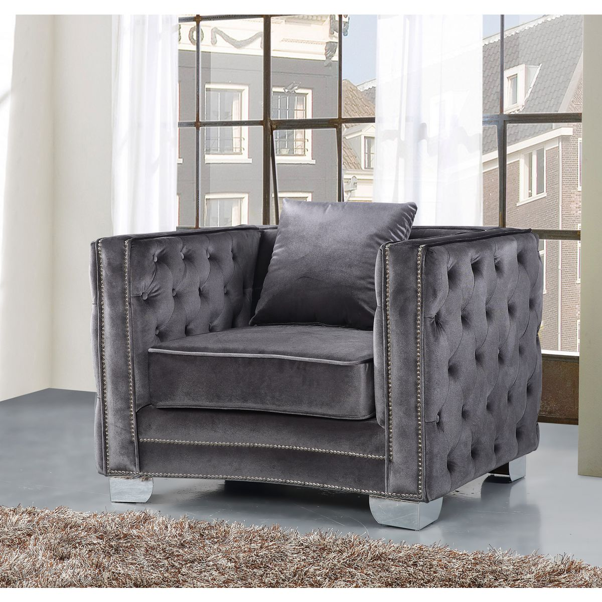 Reese Grey Velvet Arm Chair W Tufted Back Arms On Metal Legs By Meridian Furniture