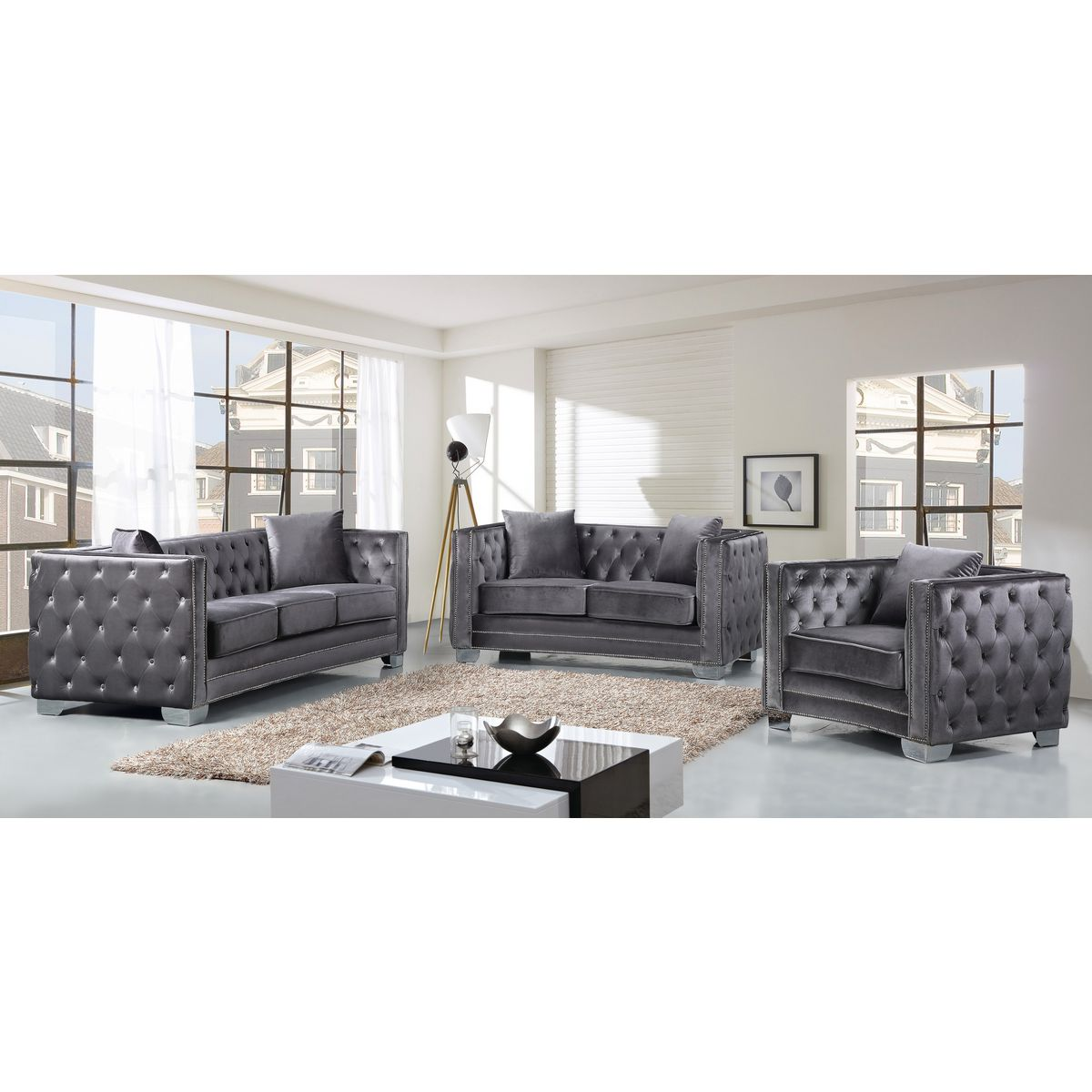 Meridian Furniture 648GRY-C Reese Grey Velvet Arm Chair w/ Tufted ...