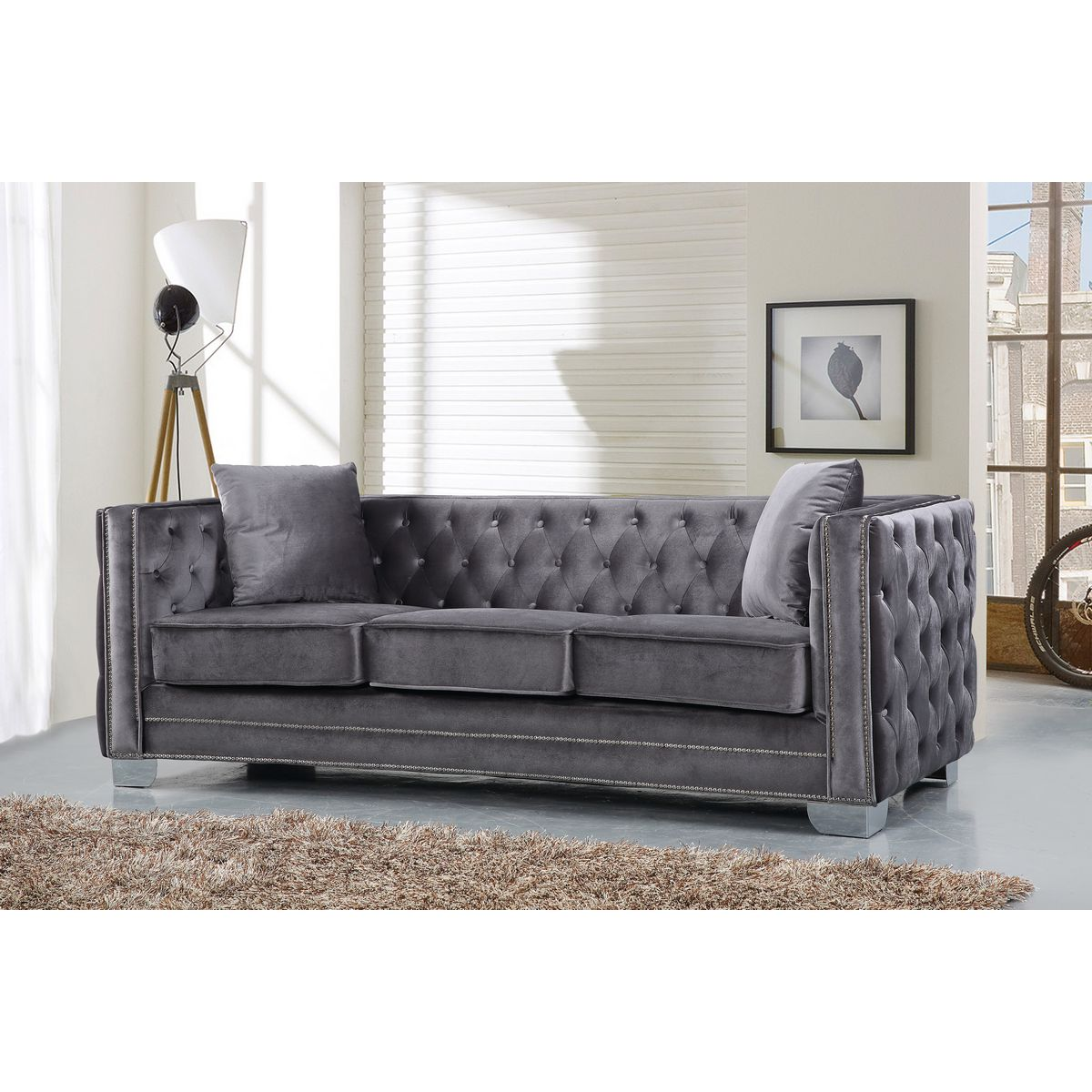 Meridian Furniture 648GRY-S Reese Grey Velvet Sofa W/ Tufted Back & Arms On  Metal Legs
