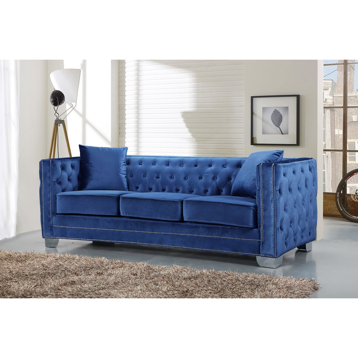 Meridian Furniture 648ltblu S Reese Light Blue Velvet Sofa
