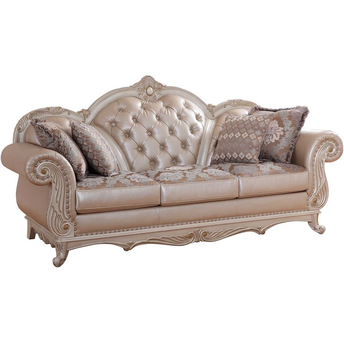 Marvelous Marquee Pearl Crystal Tufted Leather Sofa W/ French Provincial Carved Frame