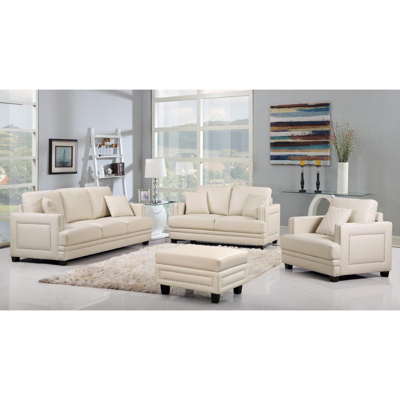 Meridian Furniture 655BE-S Ferrara Beige Leather Sofa w/ Silver ...