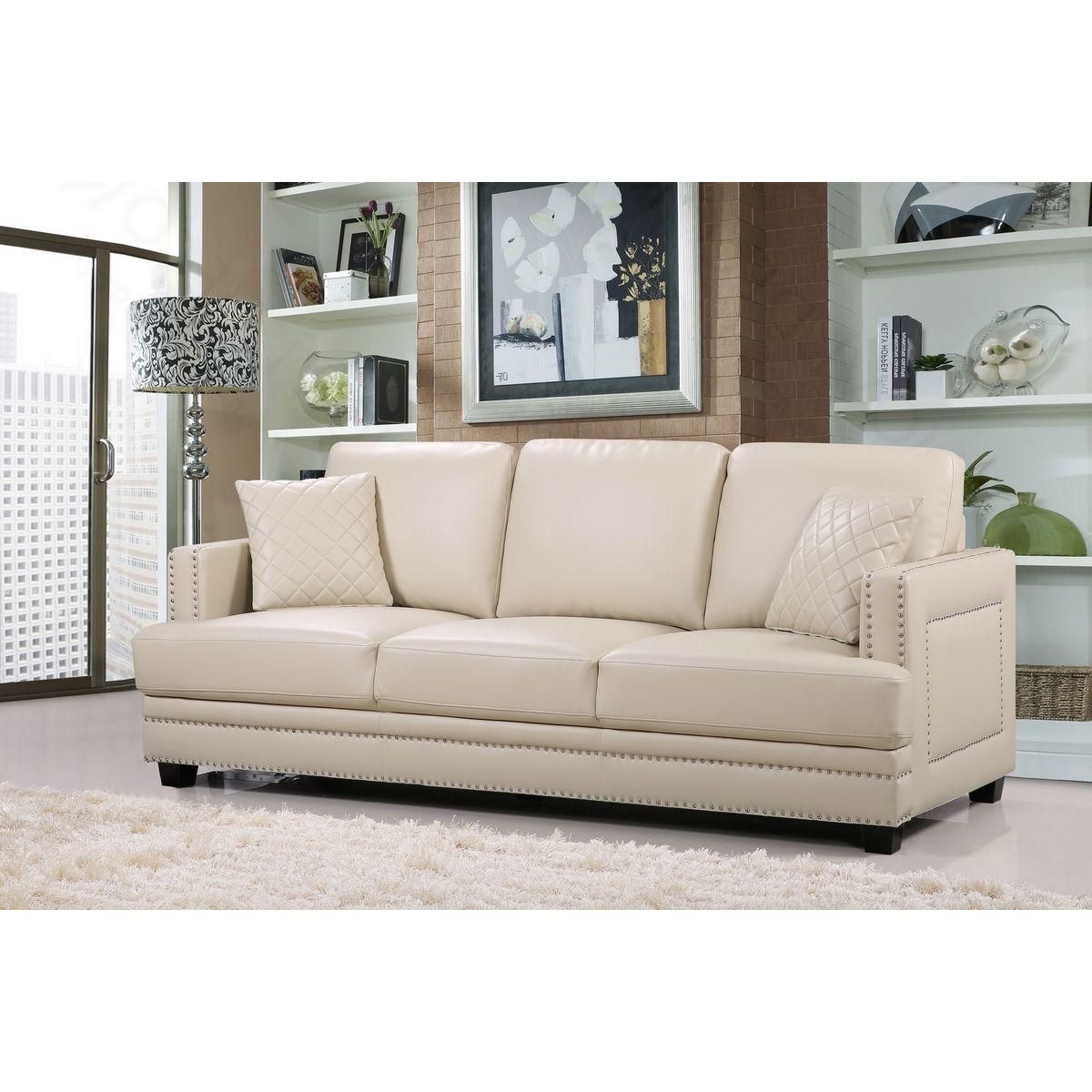 Meridian 655be S Ferrara Beige Leather Sofa W Silver Nailhead