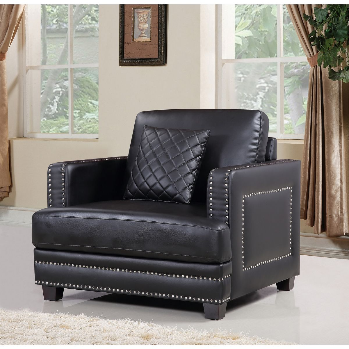Ferrara Black Leather Arm Chair W Silver Nailhead Quilted Pillow By Meridian Furniture