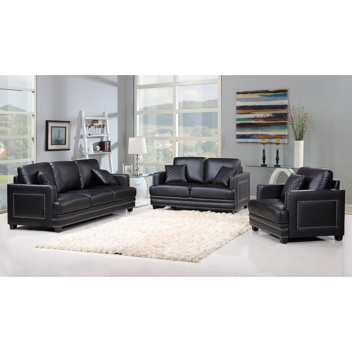Meridian 655BL-S Ferrara Black Leather Sofa w/ Silver Nailhead ...