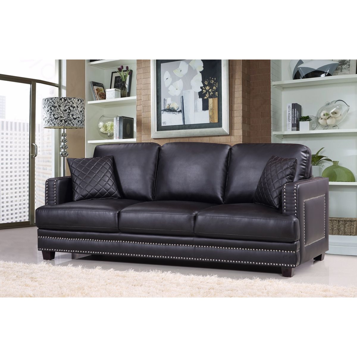 Meridian Furniture Ferrara Black Leather Sofa W/ Silver Nailhead U0026 Quilted  Pillows