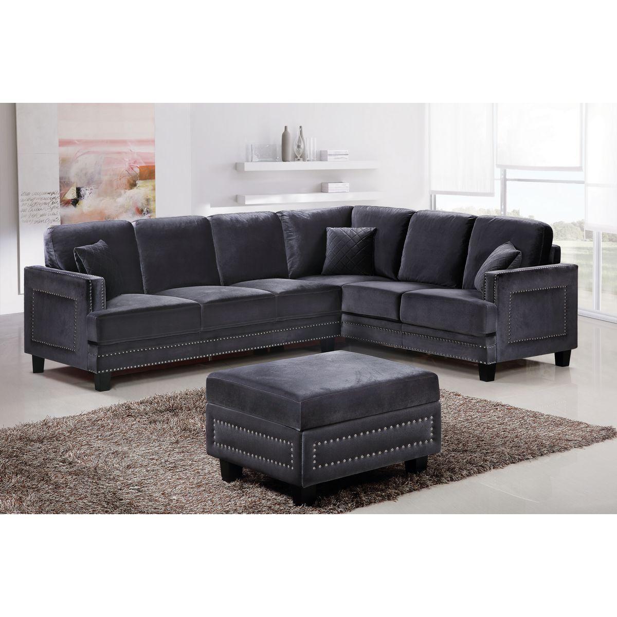 Ferrara Sectional Sofa In Gray Velvet