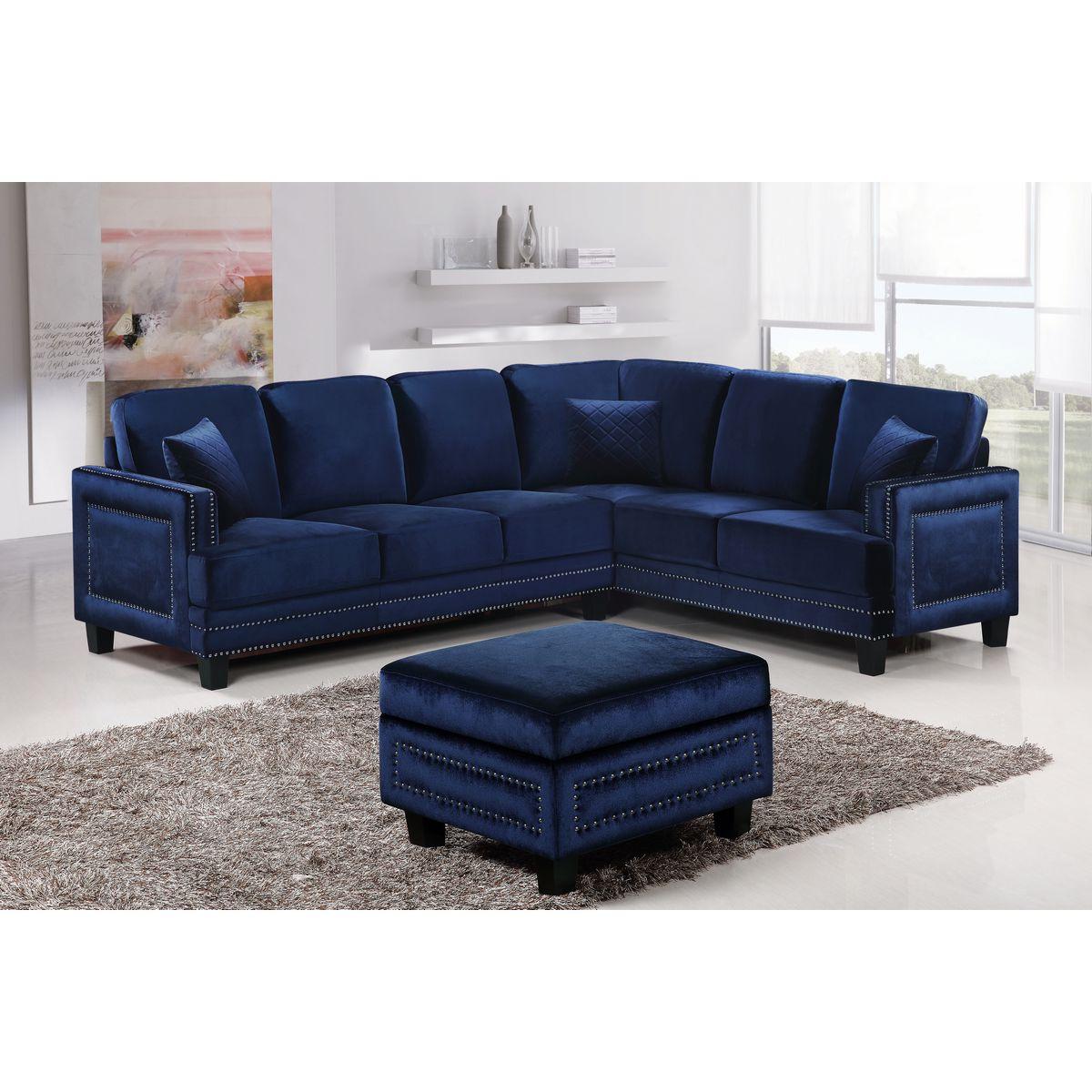 Meridian Furniture 655Navy Sectional Ferrara Sectional Sofa In Navy Velvet  W/ Nailhead Trim