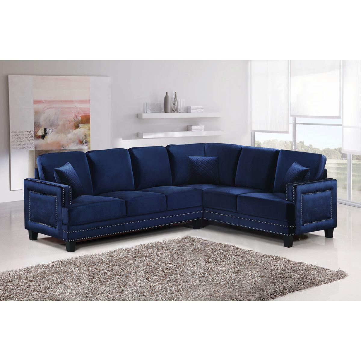 Meridian Furniture 655Navy Sectional Ferrara Sectional Sofa in
